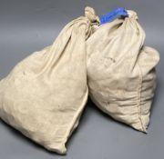 Two sacks of Elizabeth II half pennies, weighing 13.70kg each