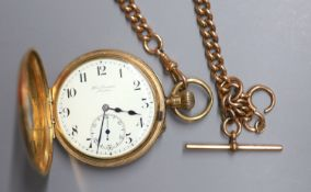A George V engine turned 9ct gold half hunter keyless lever pocket watch 'The Field' by J.W. Benson,