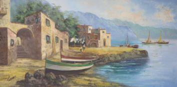 Giorgio, oil on canvas, Italian coastal landscape, signed, 59x 120cm