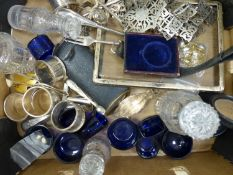 A quantity of miscellaneous plated ware, minor costume jewellery, blue glass condiment liners, glass