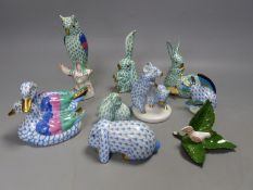 Eight Herend 'fishnet' design models of birds and animals, blue and green colourways, comprising a