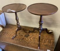 Two reproduction mahogany tripod wine tables, larger 38cm diameter, height 54cm
