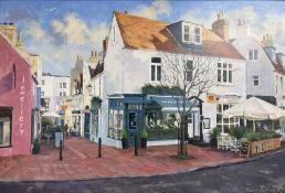 Michael J. Cruikshank, oil on board, Jewellery shops in The Lanes, Brighton, signed, 26 x