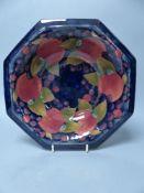 A Moorcroft pomegranate octagonal bowl, 27cm