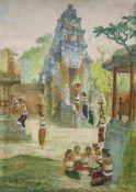 Rinas, Thai temple scene, oil on canvas, 80 x 60cm