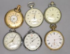 Seven assorted base metal pocket watches including Combat, Stadion and Sekonda(a.f.)