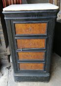A 19th century French faux amboyna safe, width 48cm, depth 36cm, height 94cm