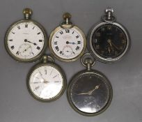 One white metal and four assorted base metal pocket watches, including Elgin & Doxa(a.f.).