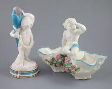 A large late 19th century French porcelain figure of Cupid, an English bone china 'cherub' vase