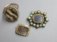 A 19th century yellow metal and seed pearl set oval mourning ring, with plaited hair below a