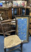 An Edwardian childs chair, another and a tray