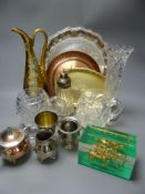 Assorted collectables to include plated and copper wares and cut glass, tallest 29cm