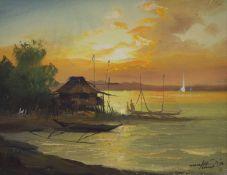 Maralez (Manila), oil on canvas, Coastal scene at sunset, signed and dated '70, 22 x 29cm
