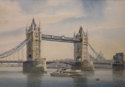 William Newton, watercolour, View of Tower Bridge, signed, 33 x 48cm