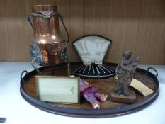 A quantity of mixed collectables including an oval mahogany tray, a lidded copper vessel, a