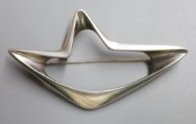 A Georg Jensen 925 openwork abstract brooch, designed by Henning Koppel, no. 376, 68mm, gross 17.4