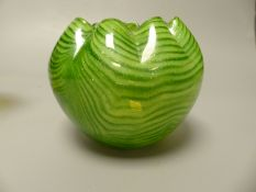 A green aventurine glass bowl and a Victorian style vaseline bowl, tallest 13.5cm