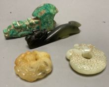 Four Chinese hardstone carvings