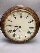 An American mahogany cased wall dial timepiece, 38.5cmCONDITION: Cannot guarantee this to be