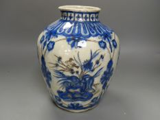 A 19th century Persian Safavid style pottery vase, height 25cm