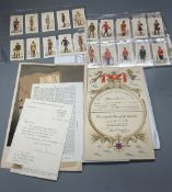 A quantity of ephemera including cigarette cards, Player's Cigarettes 1938 numbered 1 - 46, Military