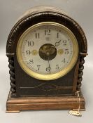 A Bulle oak cased electric mantel timepiece, height 29.5cm