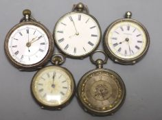 Five assorted continental white metal fob watches(a.f.).