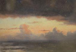 Frederick R. Fitzgerald (1869-1944), oil sketch, Clouds in sunset, 17 x 24cm