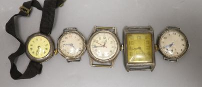 Five assorted wrist watches including four silver(a.f.).