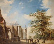 J.W. Van Trirum (b.1924), oil on canvas, Dutch street scene, signed, 50 x 60cm