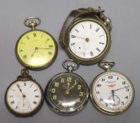 Five assorted base metal pocket watches including Medana(a.f.).