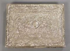 A late 19th century German? 800 white metal snuff box, 87mm.