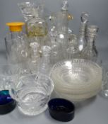 A quantity of mixed glassware, including a pair of Regency mallet shaped liqueur decanters and