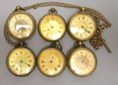 Six assorted gold plated fob watches.