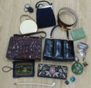 A silver duck umbrella handle, a shagreen cigarette case, horn spy glass boxes and five bags, etc.
