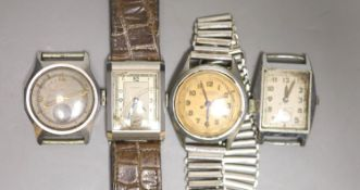 Four assorted steel wrist watches including Mido Multifort and Mappin (a.f.).