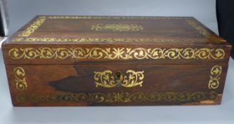 A Regency brass inlaid rosewood writing slope, length 41cm