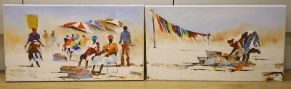 Stanley Sibanda (Zimbabwean), pair of oils on canvas, African market scenes, signed, 25 x 45cm,