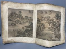 A pair of Chinese paintings on silk, Qing dynasty, each 26 x 22.5cmCONDITION: Laid down onto paper