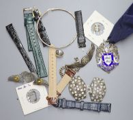 Miscellaneous items including Cartier leather watch strap, leather watch strap inscribed Rolex