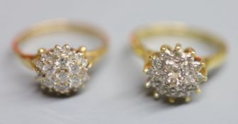 Two modern 18ct gold and diamond cluster dress rings, sizes J/K & N, gross weight 7.4 grams.