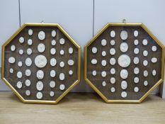A pair of framed Italian plaster cameos