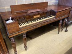 An early 19th century mahogany square piano by John Broadwood & Sons, length 172cm, depth 66cm,