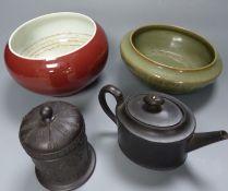 A Chinese Sang de Boeuf censer, a similar celadon glazed bowl, together with a Wedgwood black basalt