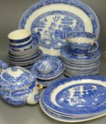 A quantity of blue and white ceramics including Copeland Spodes Italian and Willow pattern