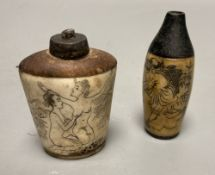 Two Chinese snuff bottles, one with erotic carving, tallest 7cm