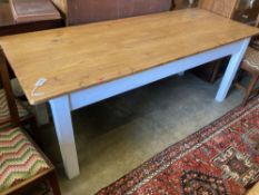 A rectangular pine kitchen table with painted underframe, length 198cm, depth 79cm, height 77cm