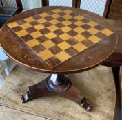 A rosewood chess top table, diameter 49cm, height 47cm