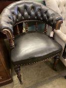 A Victorian mahogany tub framed library chair, width 70cm, depth 60cm, height 88cm