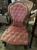 A Victorian walnut button back nursing chair, width 60cm, depth 60cm, height 96cm